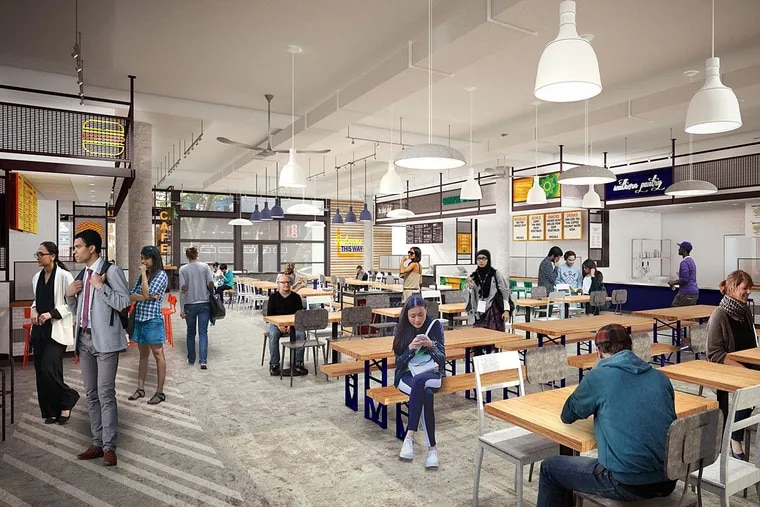 Rendering of new food hall at 34th and Walnut Streets on the University of Pennsylvania campus.