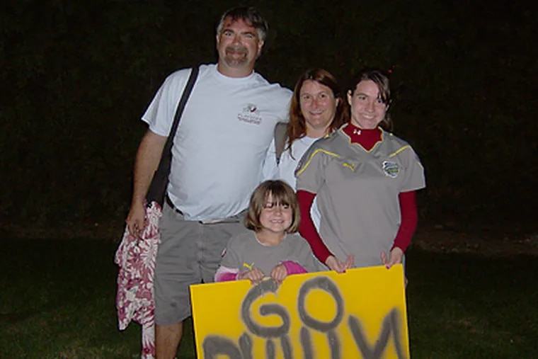 The Barry family of Pottstown show their support for the Indepedence. Pictured left to right Greg Barry, his wife Alena, daughter Alena J. Barry in the front is five-year-old Kassie (Photo: Marc Narducci)