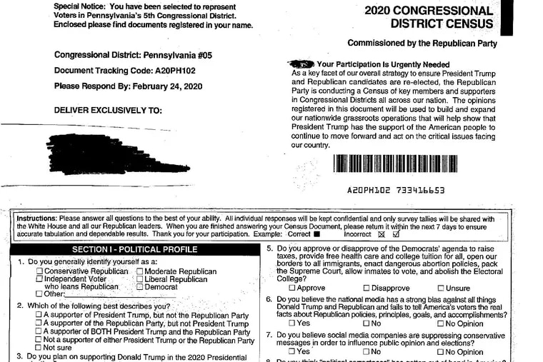 Surveys such as this one were sent to residents in Delaware County. Despite their visual similarities, they are not affiliated with the U.S. Census.