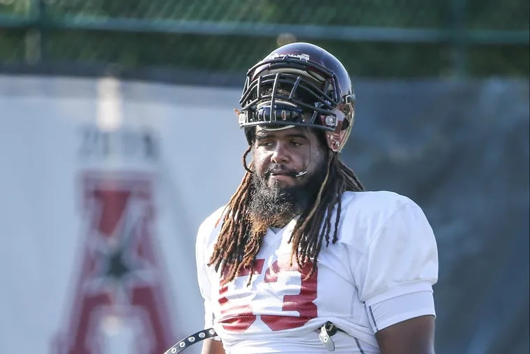 Temple football, offensive line Leon Johnson during practice, Friday, August 4, 2017.