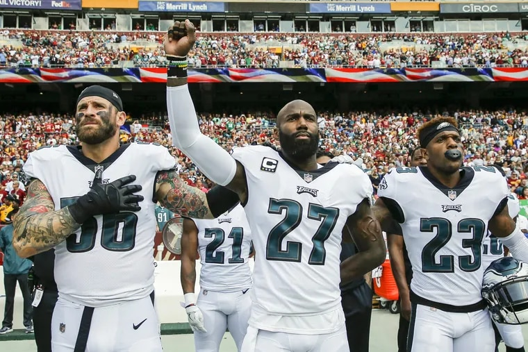 Eagles safety Rodney McLeod (23), has to transition from supporting Malcolm Jenkins (27) to providing the veteran leadership the team will be missing with Jenkins now in New Orleans.
