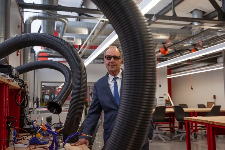 David Yager, president of the University of the Arts, in the school's new fabrication studio.