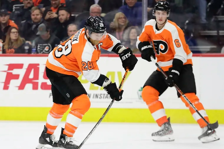 Claude Giroux (left) and Travis Sanheim (right) are two of the Flyers' three players on the COVID-19 protocol list.