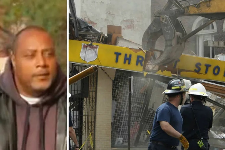 Demolition contractor Griffin Campbell (left) was convicted of six counts of involuntary manslaughter in the 2013 collapse of a Salvation Army in Center City that left six dead and 13 others injured.