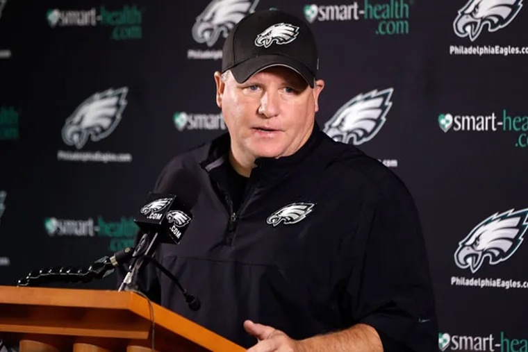 Eagles head coach Chip Kelly speaks during a news conference during practice at the NFL football team's training facility, Thursday, Dec. 5, 2013, in Philadelphia. (Matt Rourke/AP)