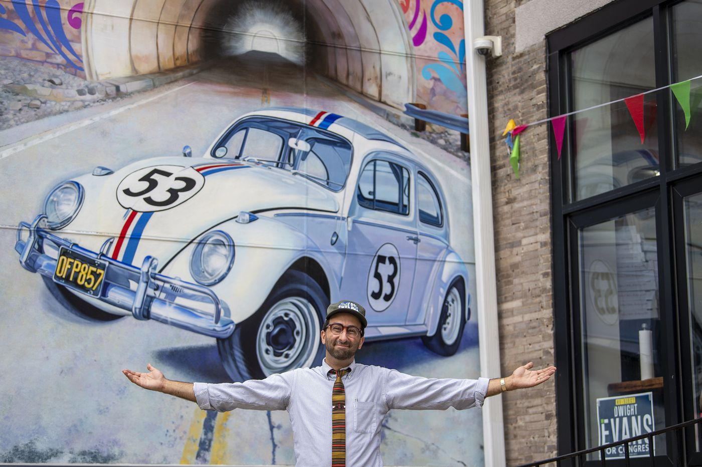 A new Herbie the Love Bug mural in West Philly has a driving purpose — suicide prevention — and QR codes