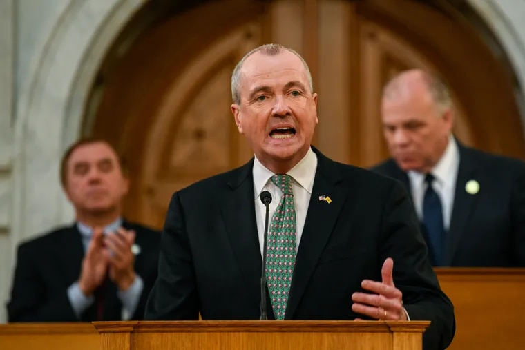 New Jersey Democratic Gov. Phil Murphy speaks during a fiscal year 2020 budget address at the New Jersey State Assembly chamber in Trenton, N.J., on March 5, 2019. Bloomberg photo by Ron Antonelli.