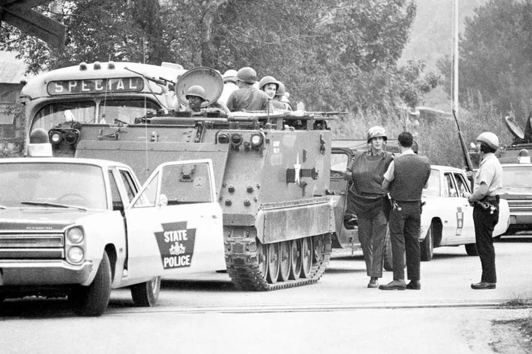 The Pennsylvania National Guard and State Police maintained a tight vigil around York, Pa., the night after Lillie Belle Allen was murdered by a white mob. In 2001, charges were filed in the case. AP, File