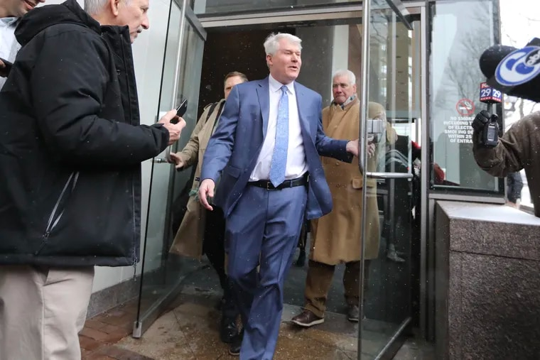 """John """"Johnny Doc"""" Dougherty leaves federal court after his arraignment Friday, February 1, 2019."""