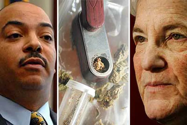 Philadelphia District Attorney Seth Williams (left) says the city's policy for dealing with puny pot cases makes sense, even if his predecessor, Lynne Abraham (right), isn't high on the idea.
