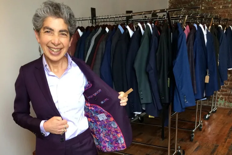 Anndee Hochman's final fitting of the suit, taken in Bindle & Keep's Brooklyn store.