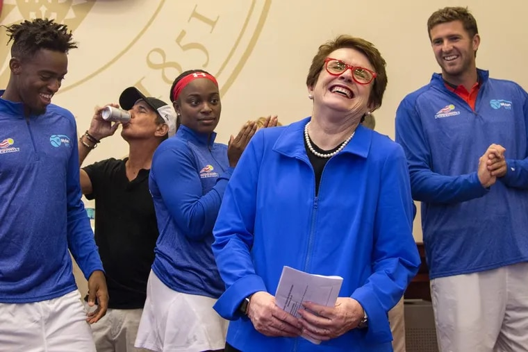 Philadelphia Freedoms team owner Billie Jean King is introduced to VIP fans before the home opener.