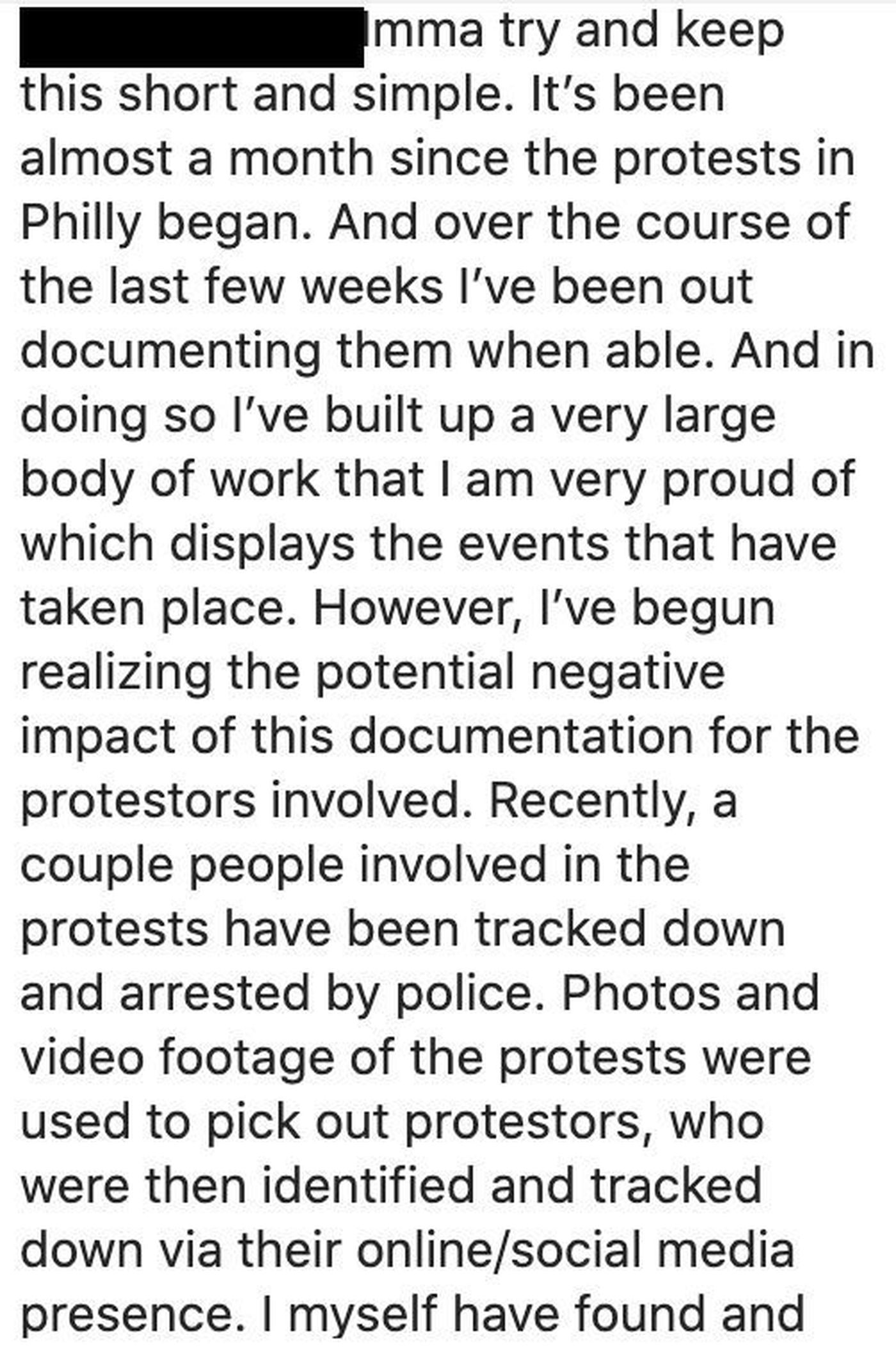 A screenshot of a caption posted to Sammy Rivera's Instagram profile in which he warns of the dangers of posting photos of protests online. He was arrested July 29 for allegedly vandalizing two Pennsylvania State Police squad cars parked on an onramp to I-676 during the protests that erupted May 30 in Center City.