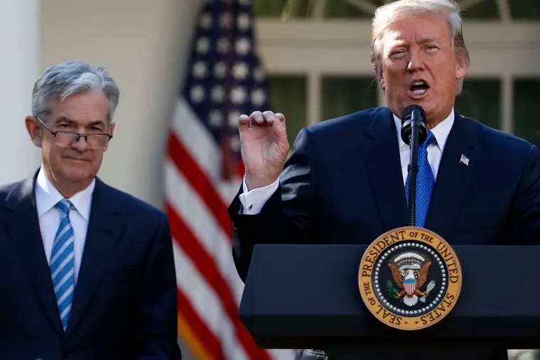 Federal Reserve board member Jerome Powell , left, is announced as nominee for the next chair of the Federal Reserve by the president. AP
