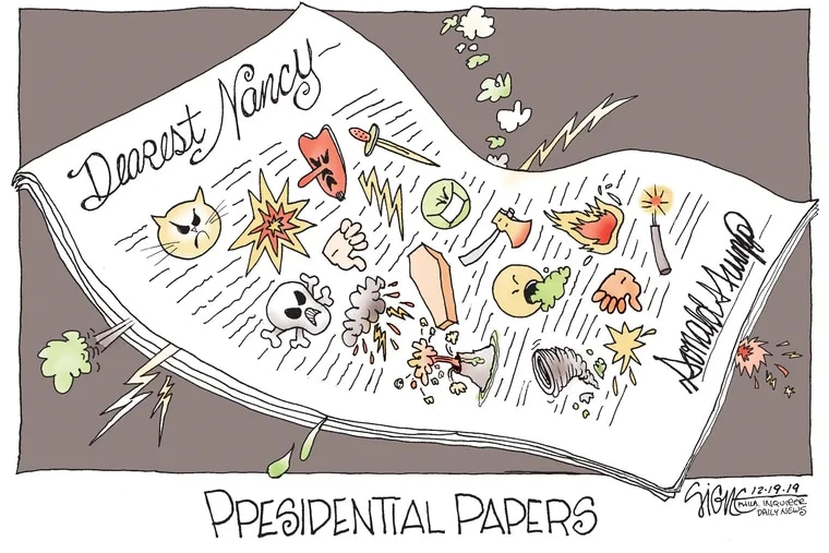 Trump sends rhetorical letter bomb to Nancy Pelosi.