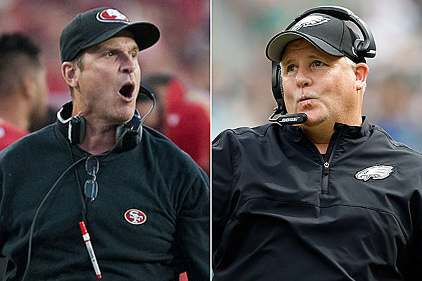 Kelly and Harbaugh, two football guys, square off