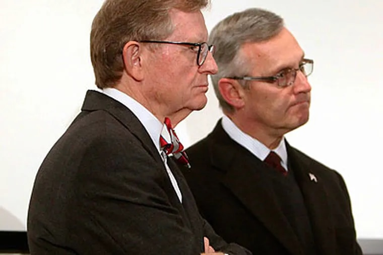 Ohio State president E. Gordon Gee (left) let a lot of the football team's problems go unpunished. (Terry Gilliam/AP file photo)