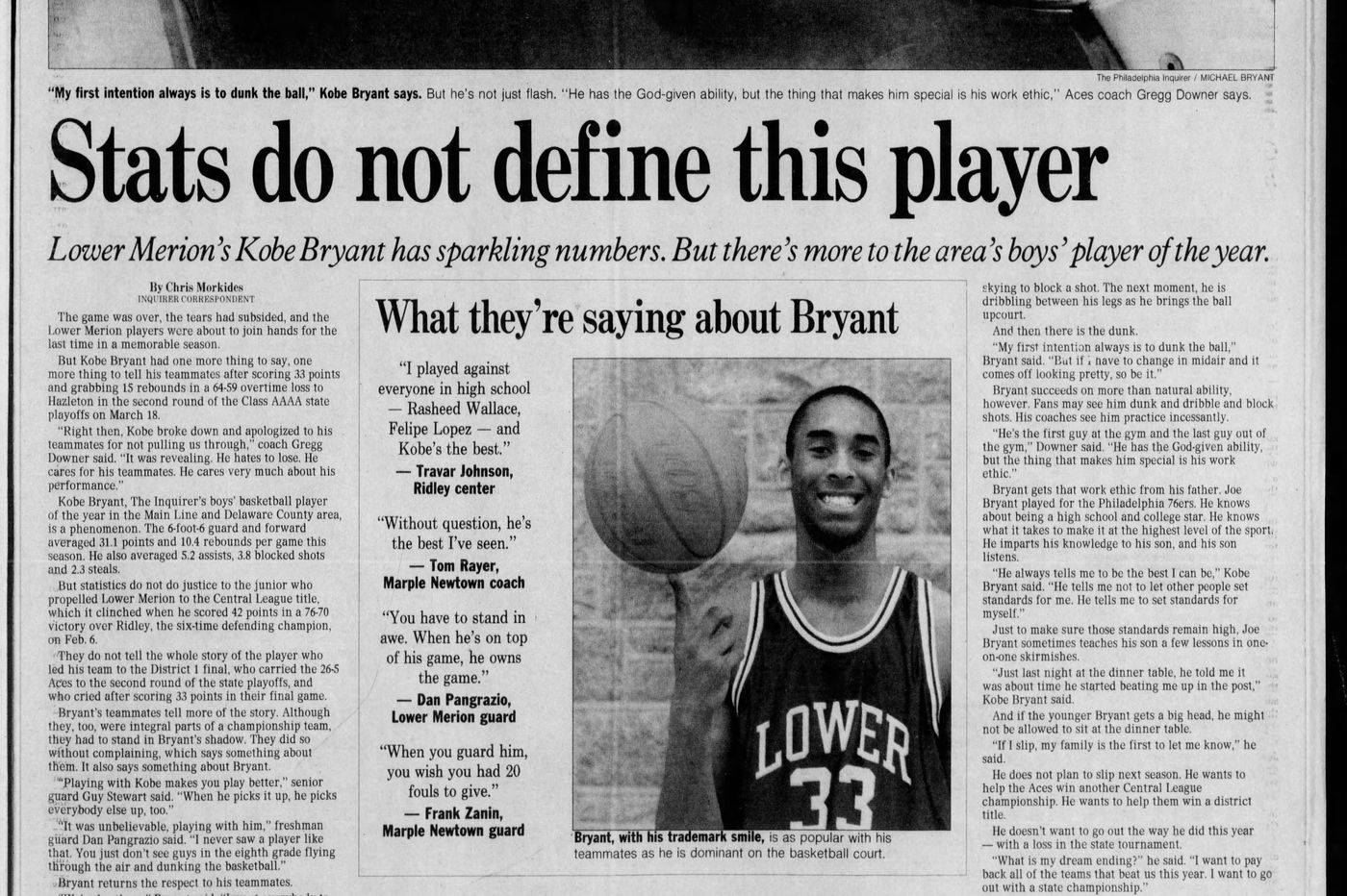 From the archives: There's more to Lower Merion's Kobe Bryant, the area's boy's player of the year in 1994-95