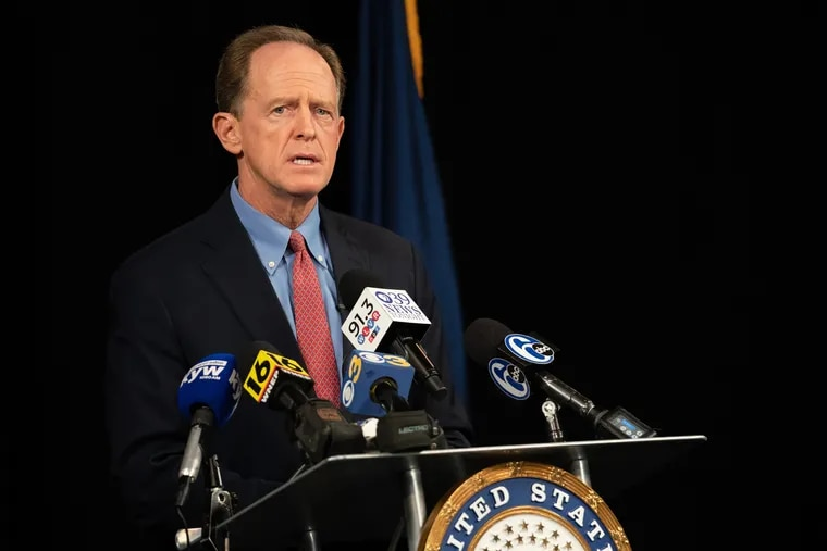 Sen. Pat Toomey (R., Pa.) during a new conference in Bethlehem on Oct. 5, when he announced he wouldn't seek reelection or run for governor in 2022.