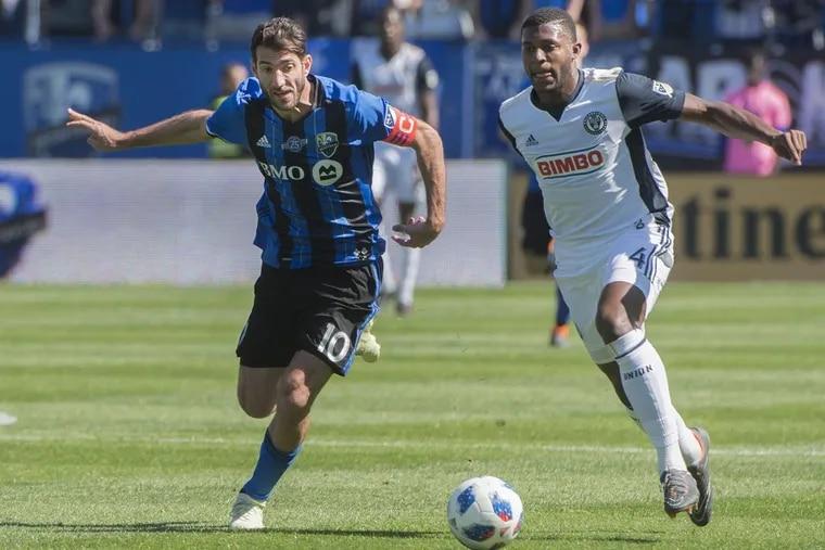 Philadelphia Union defender Mark McKenzie (right) is chased by Montreal Impact midfielder Ignacio Piatti during the first half of the Union's 2-0 win at Stade Saputo.