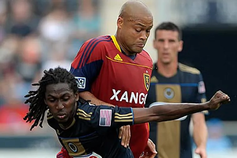 Keon Daniel scored the lone goal for the Union on Saturday as they played to a draw against Real Salt Lake. (Michael Perez/AP)