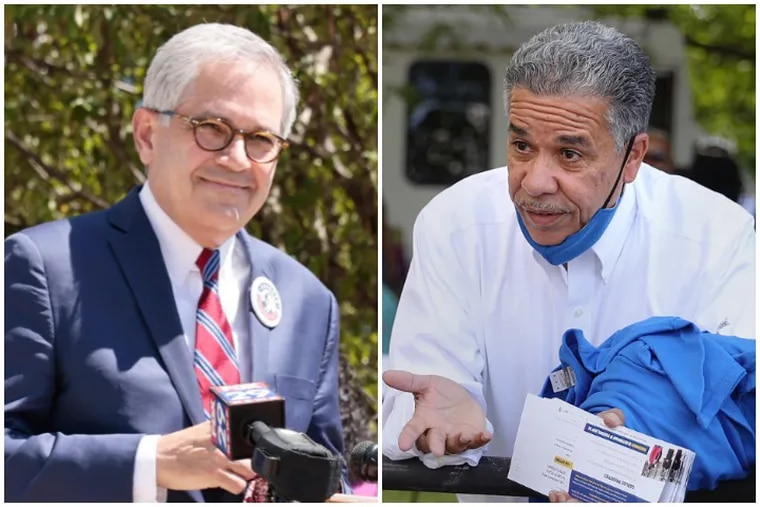 Philadelphia District Attorney Larry Krasner, left, and his opponent in the 2021 Democratic primary, Carlos Vega.