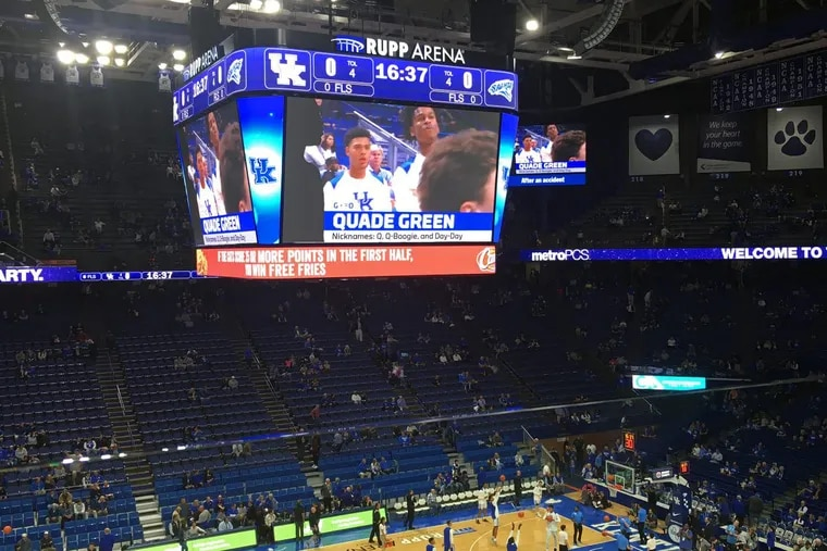 Quade Green on the big screen at Rupp Arena.