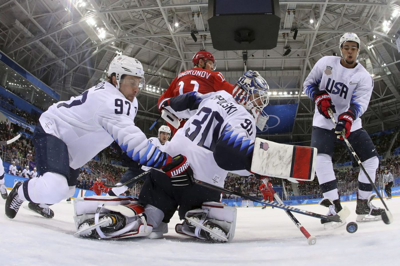 Americans fall to Russian squad in final men's hockey preliminary-round game