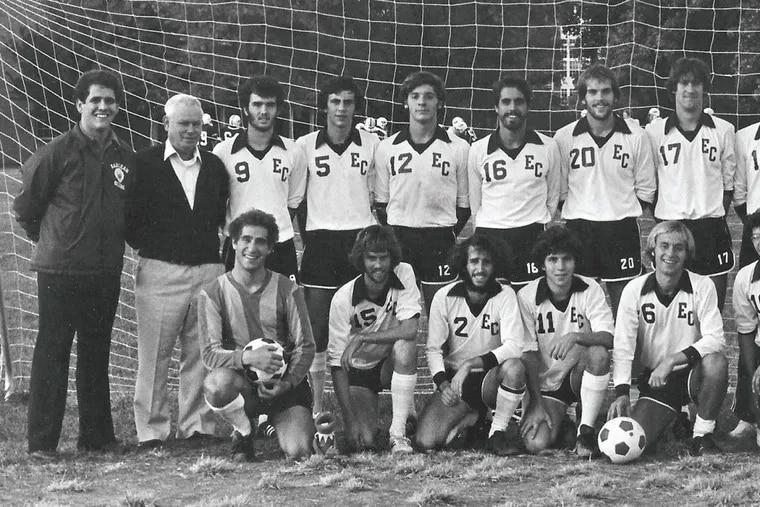 Earlham's 1980 soccer team, with Charlie Matlack standing second from left.