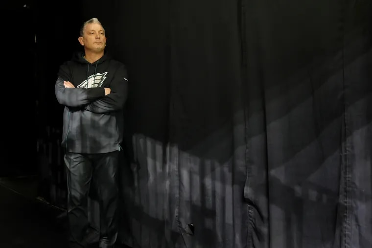 Eagles defensive coordinator Jim Schwartz waits in the tunnel before last season's divisional playoff game against the Saints on Jan. 13.