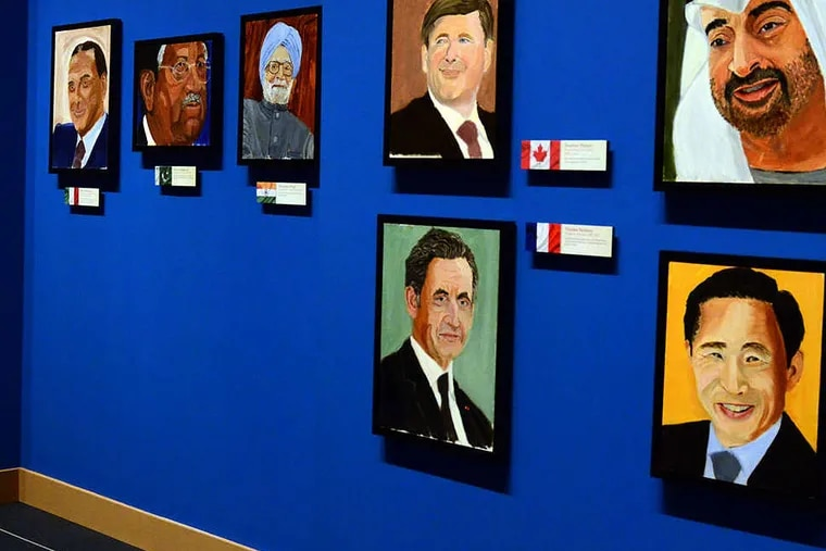"""Portraits of world leaders which are part of the exhibit """"The Art of Leadership: A President's  Diplomacy,"""" are on display at the George W. Bush Presidential Library and Museum in Dallas, Friday, April 4, 2014. The exhibit of portraits painted by former President George W. Bush opens Saturday and runs through June 3.  (AP Photo/Benny Snyder)"""