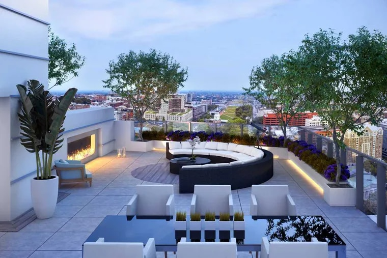 The penthouse rooftop located on the 26th floor at 500 Walnut is a private terrace for the undisclosed buyer. With the penthouse selling last year for $17.85 million, the transaction marked the highest-priced residential sale in Philadelphia's history. (Cashman & Associates)