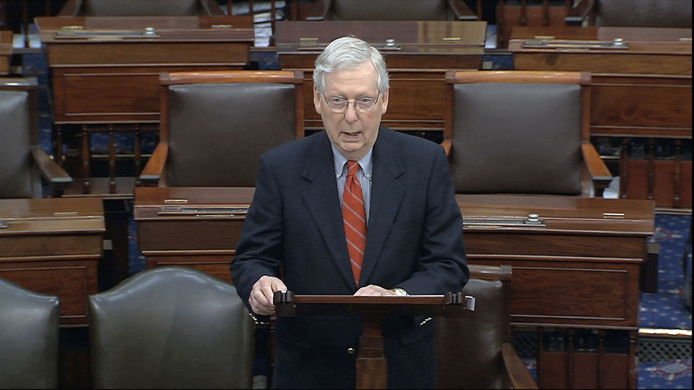 Senate Majority Leader Mitch McConnelln (R., Ky.) speaking on the Senate floor Saturday.