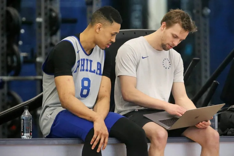 Zharie Smith (left) at the Sixers training facility earlier this month.
