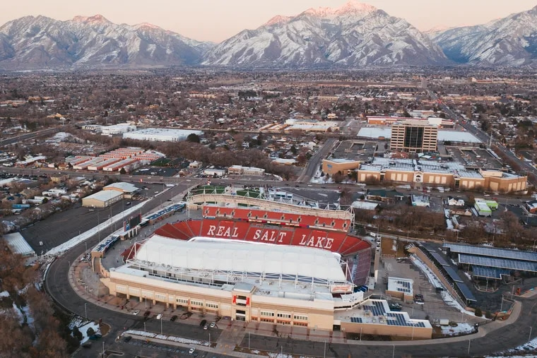 The gates are shut at Rio Tinto Stadium in Sandy, Utah, home of Major League Soccer's Real Salt Lake and the National Women's Soccer League's Utah Royals, because of the coronavirus pandemic.