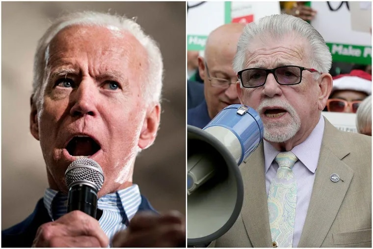 Former Vice President Joe Biden (left) addresses a crowd at the Grand River Center in Dubuque, Iowa, on Tuesday. Philadelphia AFL-CIO President Pat Eiding (right) speaks during a union rally outside Federal Court in Philadelphia in 2018.