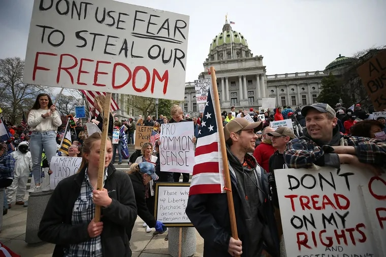 Protesters gather outside the Capital Complex in Harrisburg on April 20.