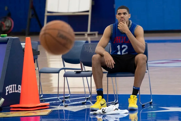 Philadelphia 76ers, Tobias Harris looks on minutes before talking to the media about the crash that took the lives of former Lakers star Kobe Bryant and eight others Sunday. Harris spoke after a team practice at the training facility in Camden, N.J. Monday, January 27, 2020.