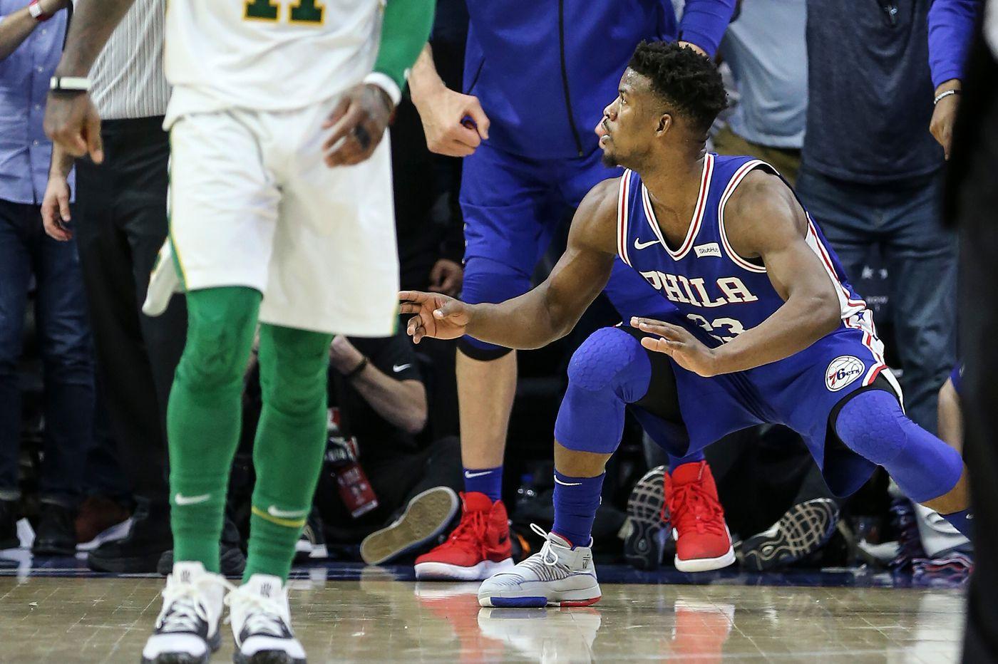 Jimmy Butler's big shot, Joel Embiid's big block lift Sixers over Celtics 118-115