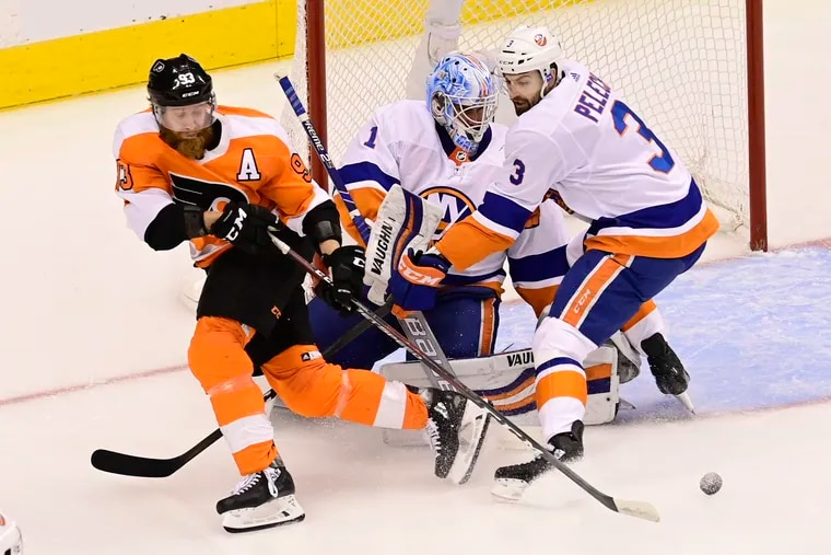 """If the NHL really wants to go full-sponsorship, we could start calling this Flyers forward """"Jake from State Farm."""""""