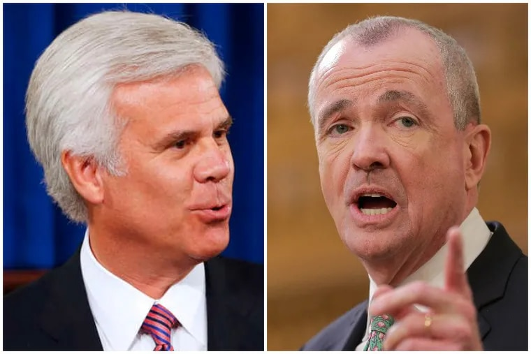 George E. Norcross III, left, and Gov. Phil Murphy are engaged in a political fight that is unprecedented in Trenton, longtime observers say.