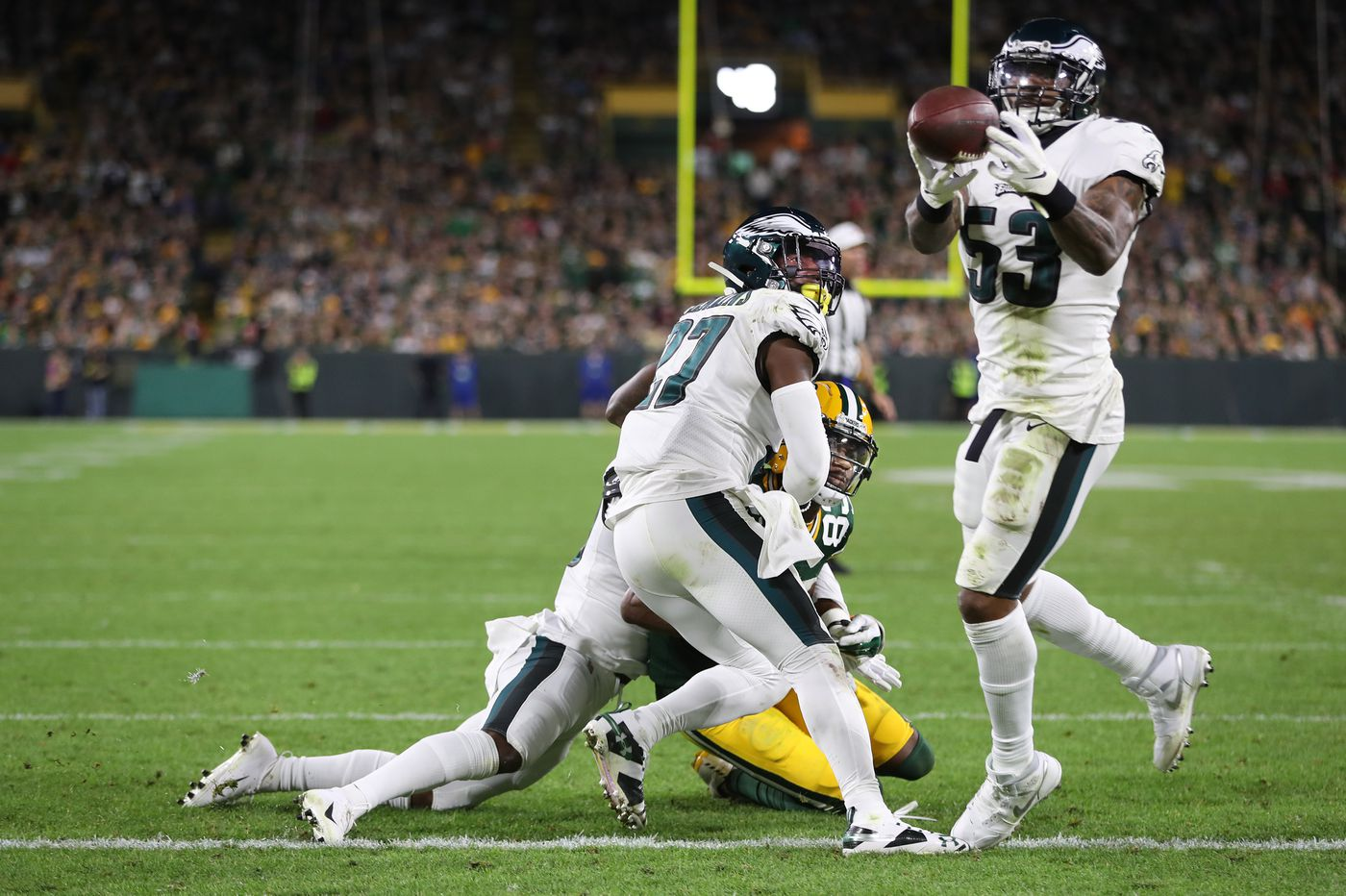 Eagles outlast Green Bay Packers as Craig James' deflection, Nigel Bradham's interception seal a huge victory