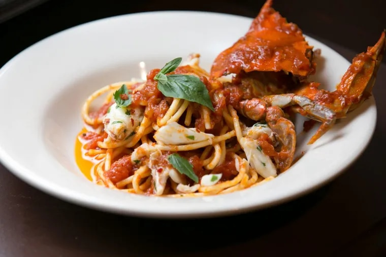 The spaghetti and crabs at the Palizzi Social Club is Craig LaBan's dish of the year.
