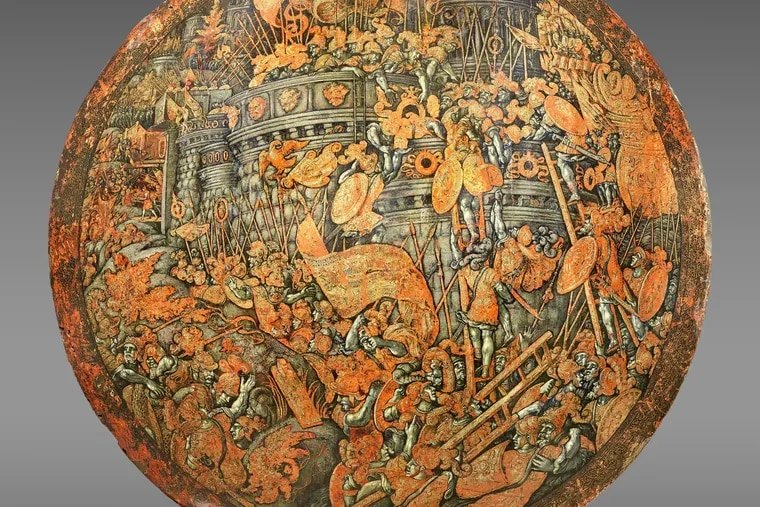 Shield showing the Storming of New Carthage, made in Italy around 1535, and attributed to Girolamo di Tommaso da Treviso (Italian, born c. 1497, died 1544), after a design by Giulio Romano (1492/99-1546). Wood, linen, gesso, gold, pigment, diameter: 24 inches. Bequest of Carl Otto Kretzschmar von Kienbusch, 1977; deaccessioned 2021.