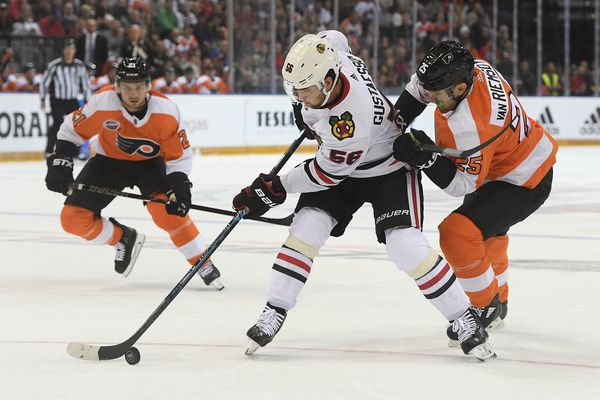 Flyers open season with 4-3 win over Chicago in Prague as Travis Konecny stars