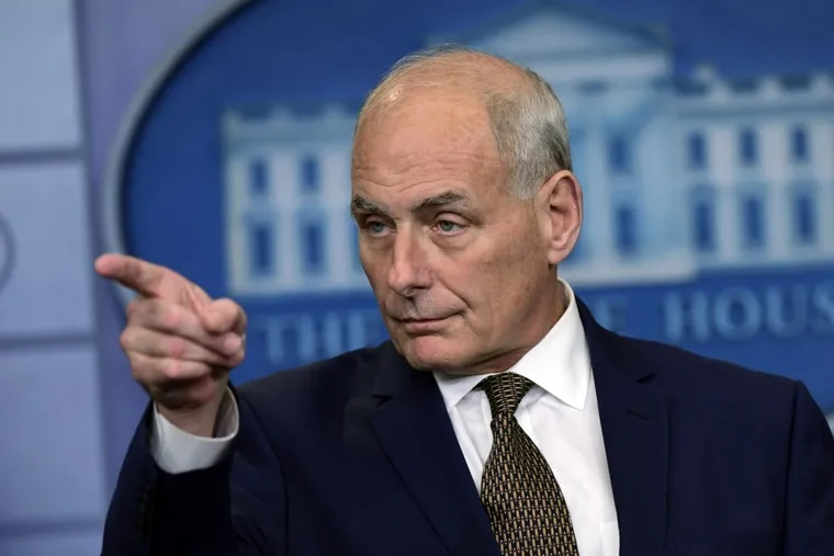 White House Chief of Staff John Kelly during a briefing at the White House.