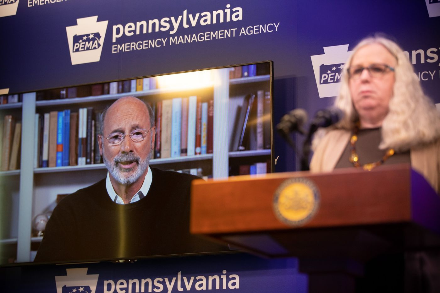Governor Tom Wolf speaking by video feed while Secretary of Health Dr. Rachel Levine on Friday.