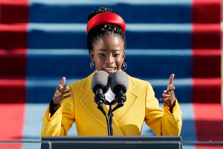 American poet Amanda Gorman reads a poem during Joe Biden's inauguration ceremony.