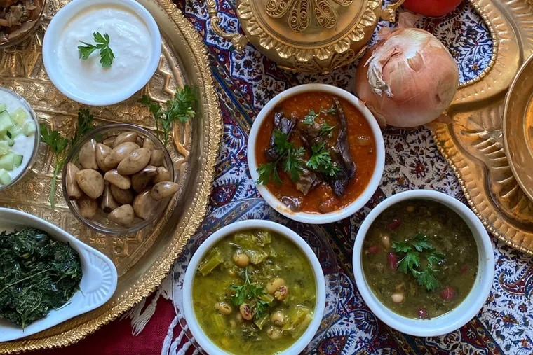 An assortment of stews and sides at Persian Grille.