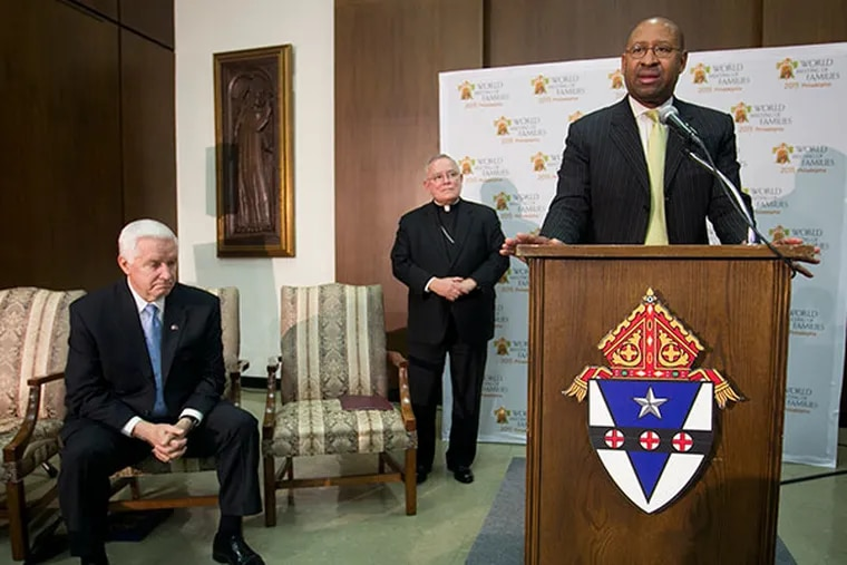Philadelphia Mayor Michael Nutter speaks the podium as Archbishop Charles Chaput (center) and Pennsylvania Governor Tom Corbett (left) look on during a press conference about the World Meeting of Families in Philadelphia in 2015 at the Archdiocese of Philadelphia on Friday, March 7, 2014. ( ALEJANDRO A. ALVAREZ / STAFF PHOTOGRAPHER )